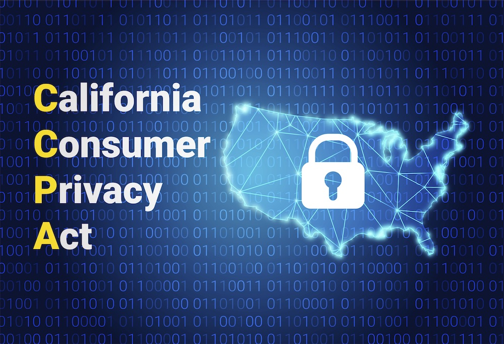 Depiction of cyber network around America, lock in the middle of the country, with California Consumer Privacy Act written on side.